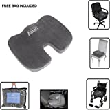 Memory Foam Seat Cushion with Non Slip Base Orthopaedic Premium Ergonomic Lumbar Support Design - Improves Posture and Relieves Coccyx, Lower Back, Spine, Sciatica, Tailbone Injury, Pelvic, Hemorrhoids, Pregnancy Pain - Comfortable - Medical and Professional Use - Ideal for wheelchair users, Office workers, Taxi, Bus and Lorry Drivers - Comes with FREE bag making this portable for travel