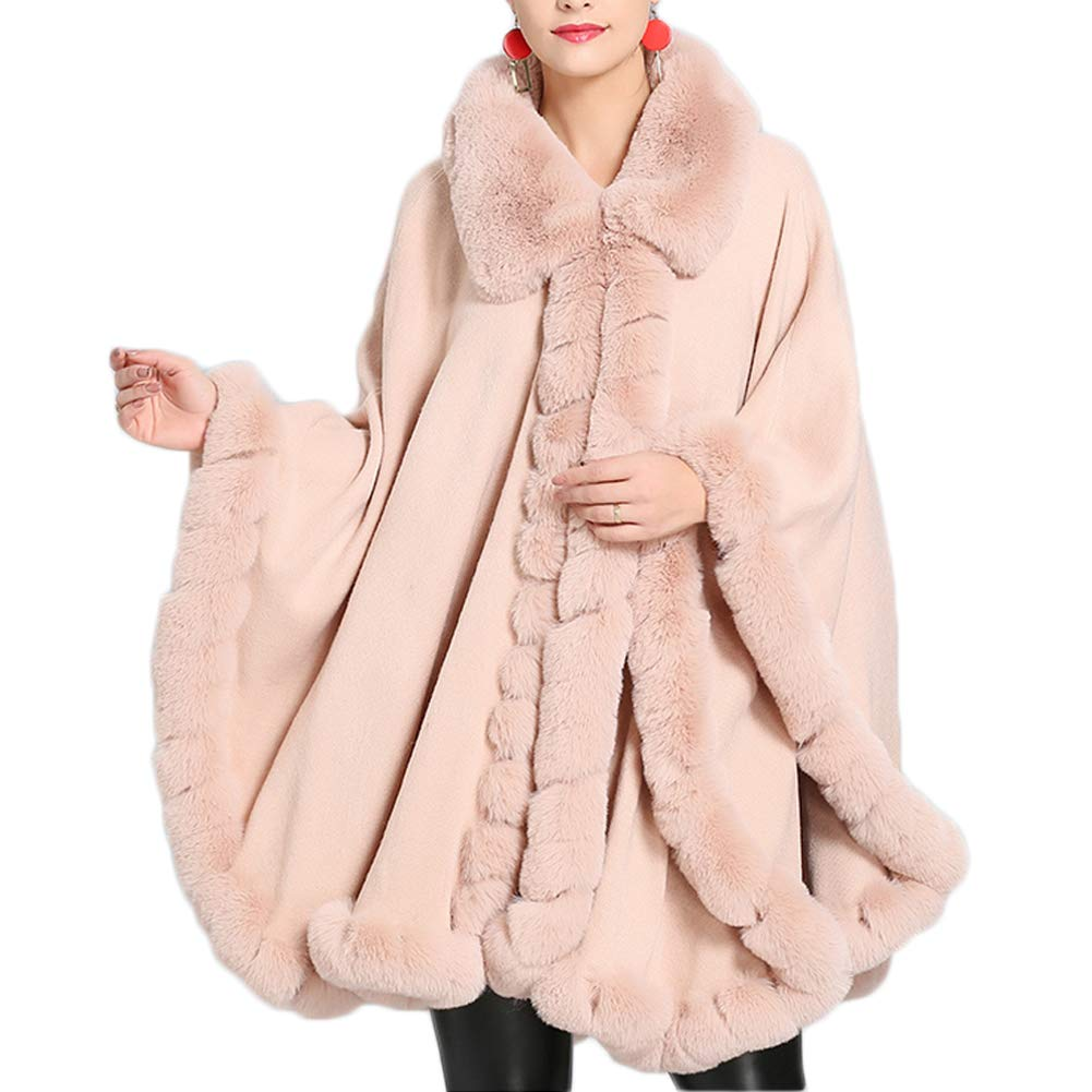 color1 Michealboy Women Thicken Faux Fur Oversize Cape Poncho OpenFront Blanket Wrap