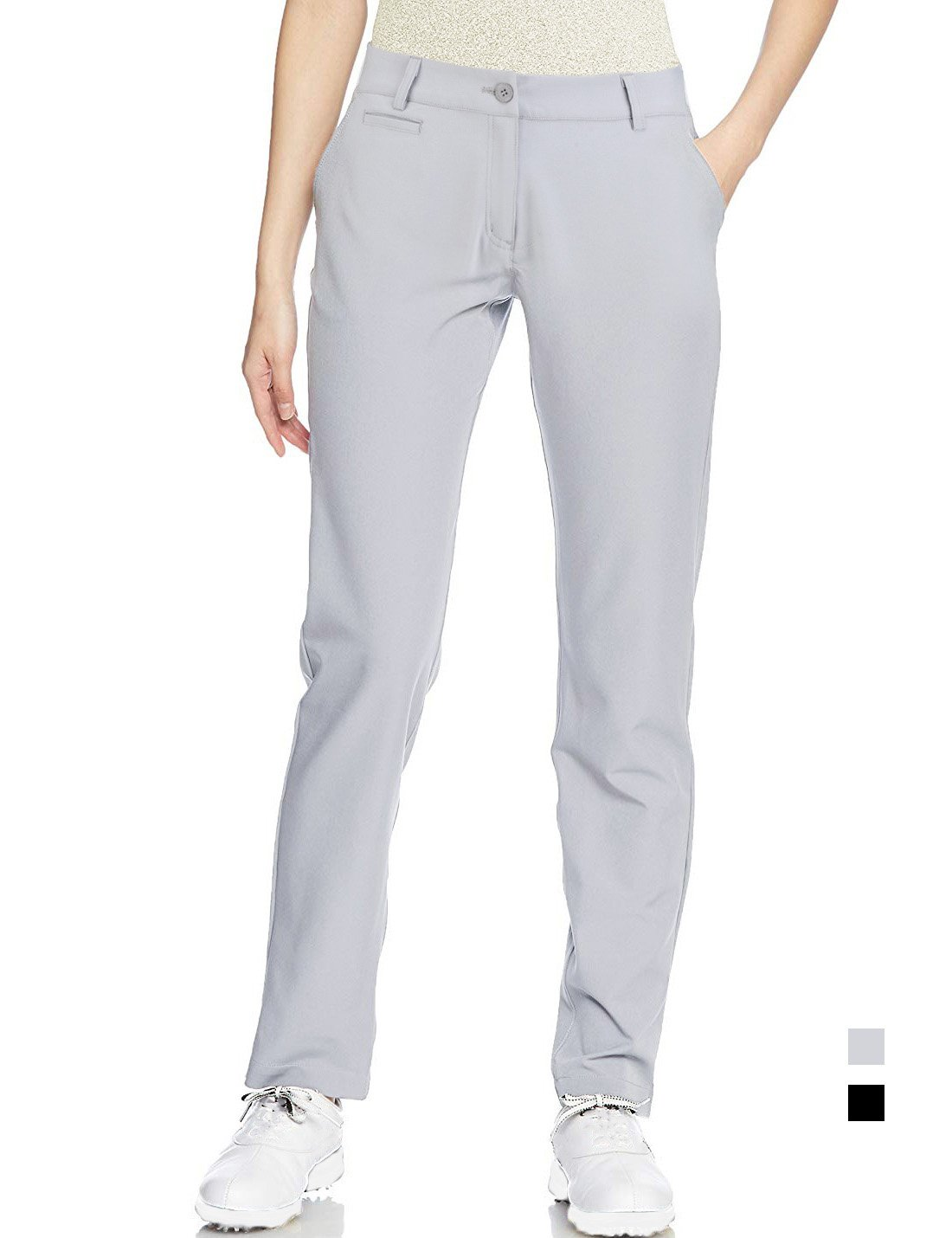 Golf Pants Women Long Stretch Tall Straight Leg Twill Work Chino Ladies Size 4 Grey by Lesmart