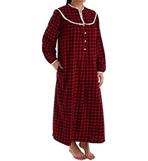 Lanz Flannel Square Neck Long Nightgown in Sweetheart Tyrolean