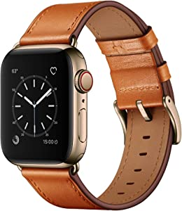 OUHENG Compatible with Apple Watch Band 44mm 42mm, Genuine Leather Band Replacement Strap Compatible with Apple Watch Series 6/5/4/3/2/1/SE, Brown Band with Bronze Gold Adapter