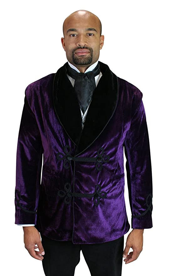 1900s Edwardian Men's Suits and Coats  Vintage Velvet Smoking Jacket $129.95 AT vintagedancer.com