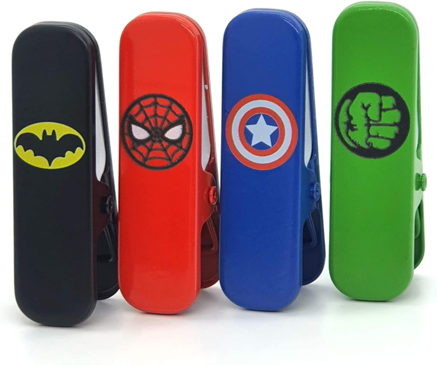 Superhero Chip Bag Clips,Large Heavy Duty Clip for Office Kitchen School,Great for Paper/Food/Photo,DIY Clamps for Record Text (4Pcs)