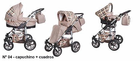 Sistema de viaje 3 en 1, Cochecito, Carrito Bebe Carlo capuchino-cuadros,