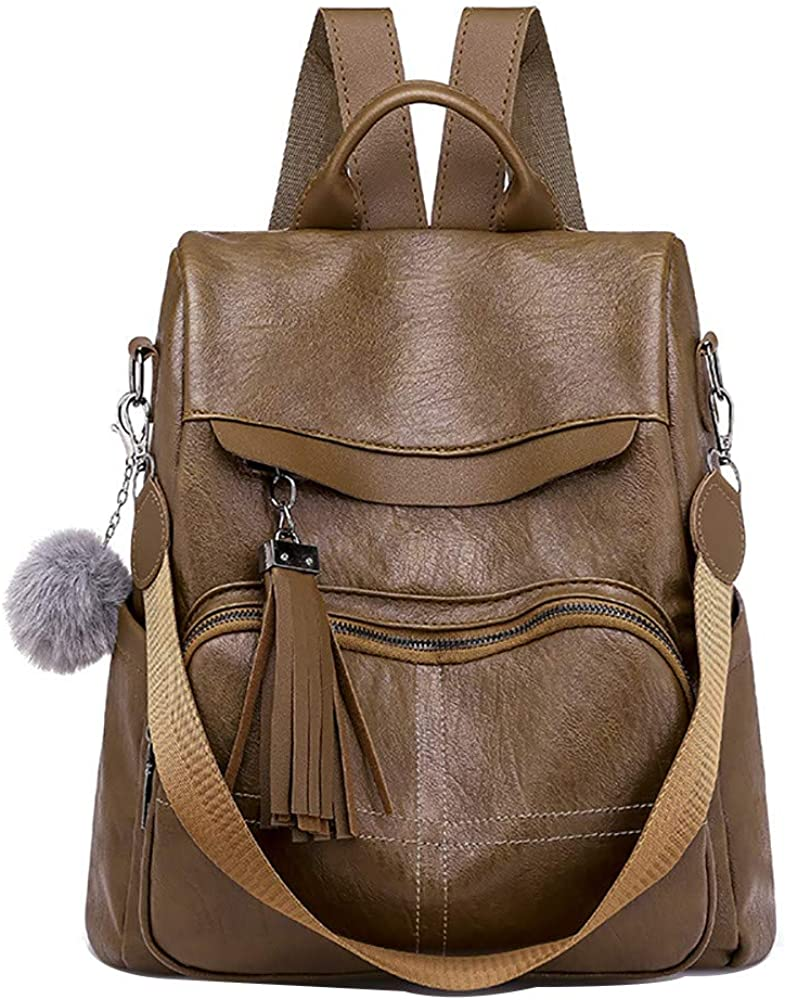 ZOMUSAR Women Backpack Purse PU Leather Anti-theft Large Travel Bag Ladies Shoulder School Bags