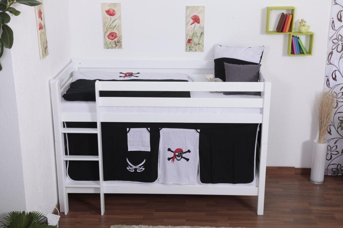 Etagenbett Spielbett : Etagenbett spielbett moritz buche vollholz massiv weiß lackiert