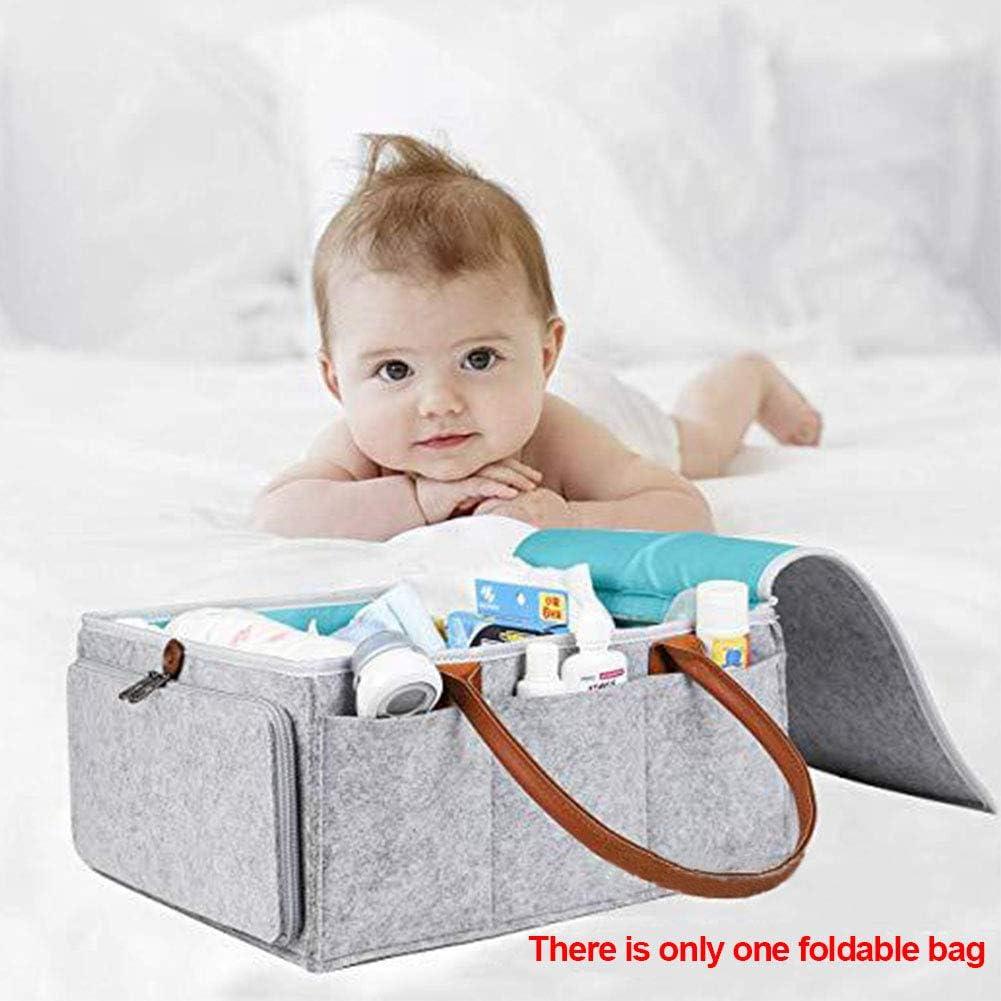 Auto-Organizer-Geschenkkorb aus Filz f/ür Neugeborene Aufbewahrungsbox f/ür S/äuglingskinder PURATEN Baby Windel Caddy 1 periphere Zwei-Wege-Rei/ßverschlusstasche 5 F/ächer