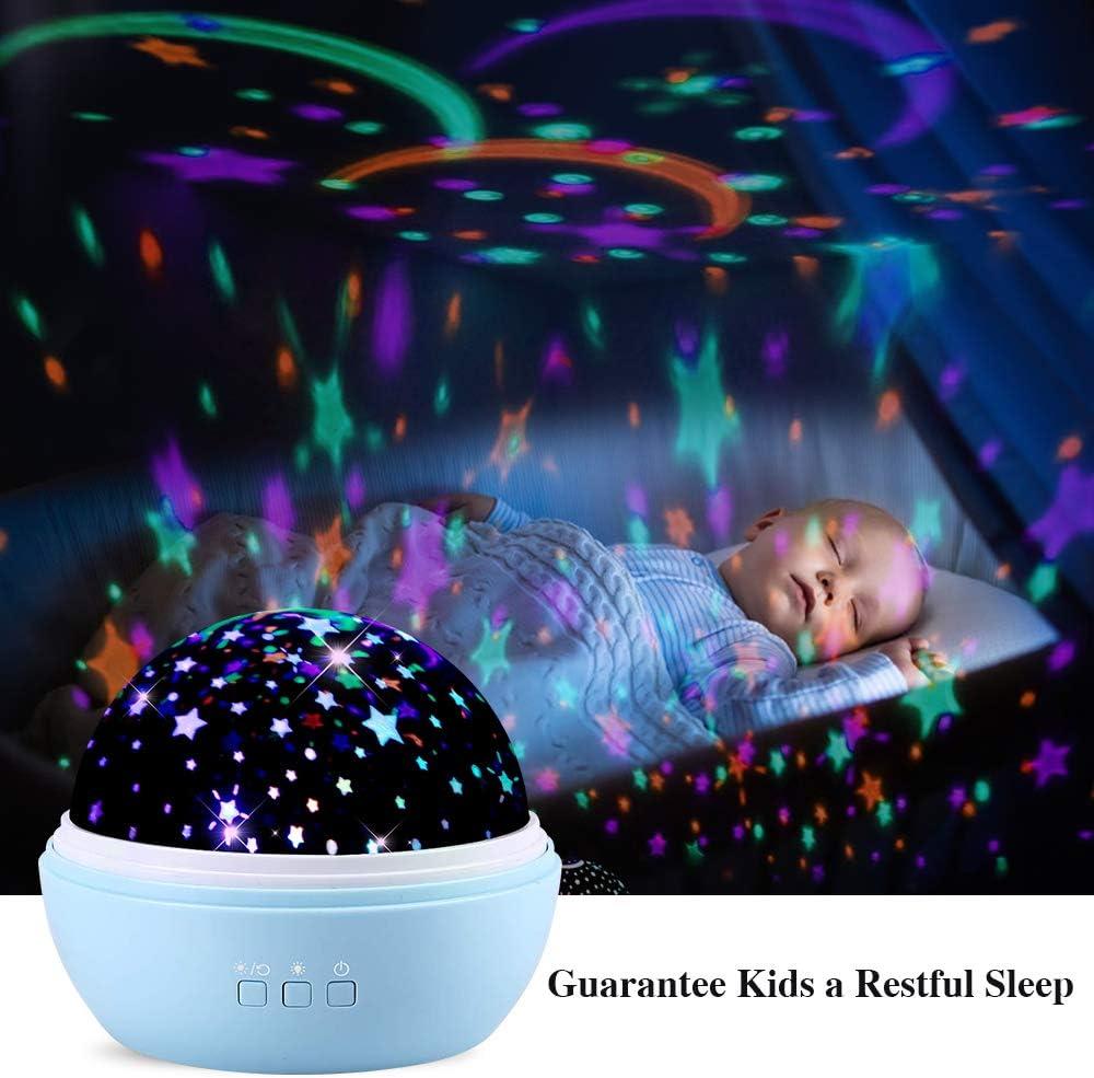TekHome Mini LED Proyector Bebe Estrellas Portátil Azul, Juguetes Bebes 3 6 9 Meses 1 Año, Luz Noche Nocturna Infantil, Regalos Cumpleaños Navidad para Niños 2 3 4 5 6 Años, 48 Efectos.