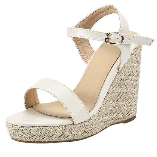 a14f6e223337b Women's Wedge Sandals Summer Buckle Strap Open Toe Platform High Heels  Ankle Strap Pumps Shoes