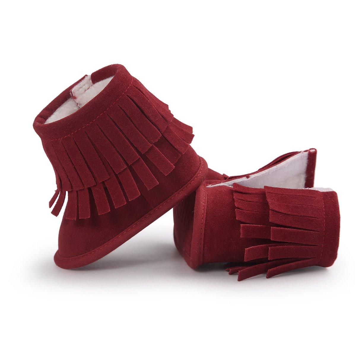Butterme Zapatillas de Deporte de Beb/é Felpa C/álida Borla Zapatos Antideslizantes Prewalker Al Aire Libre de Nieve para 6-12 Meses 11cm,Rojo