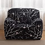 Elastic Sofa Covers Sofa Slipcover,Plain Color Polyester Spandex Fabric Slipcover Couch Chair Sofa Protector Covers for Home Apartment Decoration (Single Seater(35''-55''), Branch (black))
