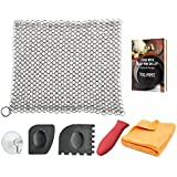 KitchWhiz [6in1] Handcrafted Premium Cast Iron Cleaner, 7 inches Hygienic Stainless Steel Scrubber with Silicon Handle + Pan Scraper + Drying Hook + Cleaning Cloth and Recipe Book