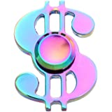 FIDGET DICE Fidget Hand Spinners EDC Spinner Toy Stress Reducer for Anxiety Focusing ADHD, Steel Ball Bearing, 2-4min Spin time, Dollar Sign (Rainbow)