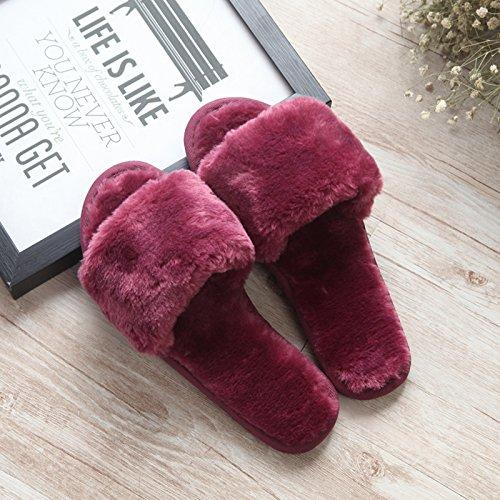 Fankou fondo piatto pantofole di cotone femmina esterno inverno indossare pantofole home incantevole autunno inverno spesso maglione anti-slittamento ,37-38, il vino rosso