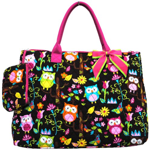 owl print quilted over night tote bag