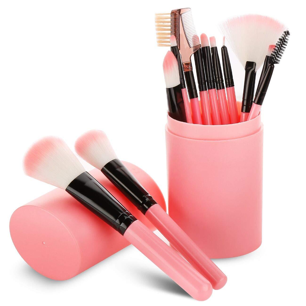 Makeup Brush Sets - 12 Pcs Makeup Brushes with Case for Foundation Eyeshadow Eyebrow Eyeliner Blush Powder Concealer Contour