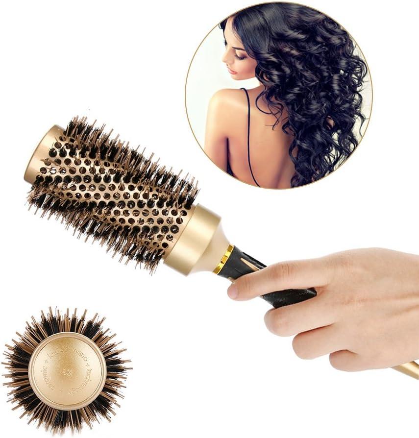 Peine antiestático redondo grande del pelo del cepillo profesional de nylon para el estilo casero del salón Uso peine de la brocha del diseño del peluquero del diseño (45mm)
