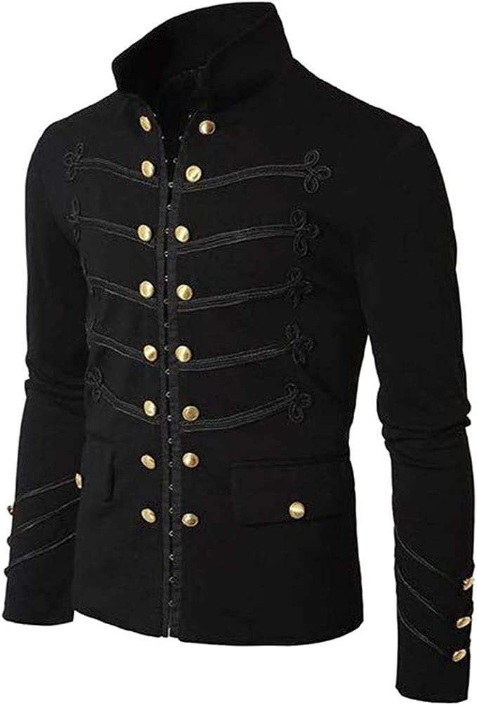 Borje Men's Officer Uniform Military Drummer Parade Jacket Costume Party Outerwear