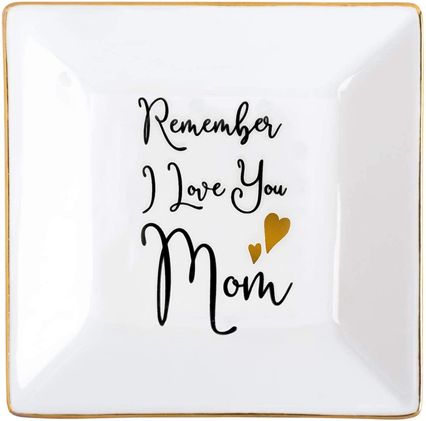 KLYJI Gifts for Mom Ring Trinket Dish Ceramic Jewelry Holder Tray, Remember I Love You Mom Birthday Christmas Thanksgiving Gift for Mother