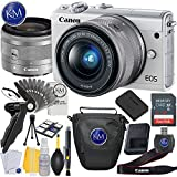 Canon EOS M100 Mirrorless Digital Camera with 15-45mm Lens (White) + 32GB Memory Card + Basic Photo Accessory Bundle