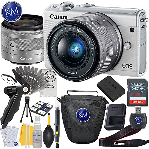 Canon EOS M100 Mirrorless Digital Camera with 15-45mm Lens (White) + Basic Photo Accessory Bundle by K&M
