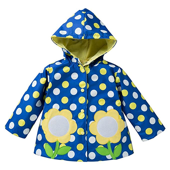 cd3704aed Wennikids Baby Girls Boys Raincoat Windbreaker Hooded Bomber Outerwear  Clothes Jacket Small Blue Dot