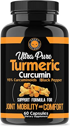 Angry Supplements Ultra Pure Turmeric Curcumin with BioPerine, Black Pepper Extract, 95 Curcuminoids, All Natural Powerful Antioxidant, Non-GMO, Joint Support, Heart Heath, Relief 1-Pack