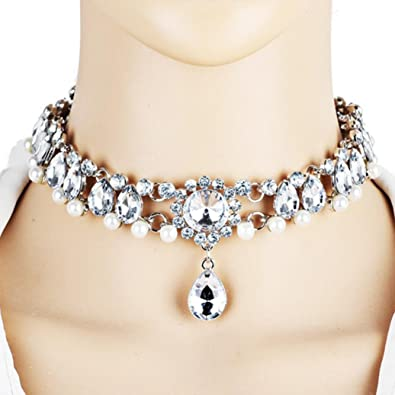 0481efa2c Image Unavailable. Image not available for. Color: Botrong Women Full Diamond  Crystal Rhinestone Choker Necklace Wedding Jewelry