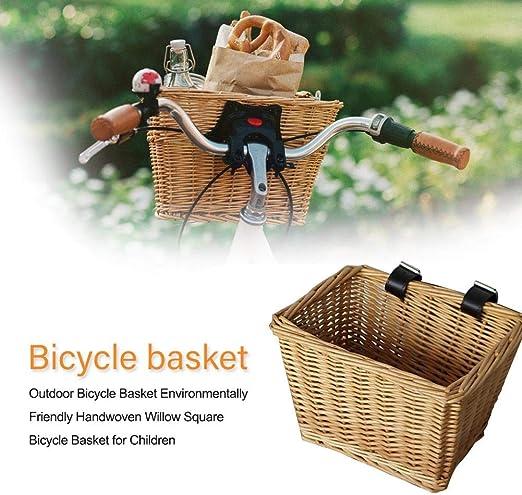 RecoverLOVE Cesto de Bicicleta de Mimbre para Exteriores, Tejido ...
