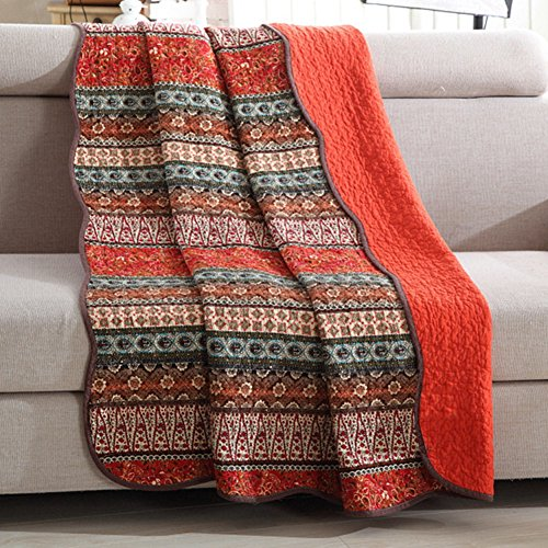 Mixinni Boho Style Southwest Bedding Stripe Red Quilted Throw Blanket 100  Cotton Reversible Light Weight Air Conditioning All Season Sofa Bedding Couch Soft Blanket