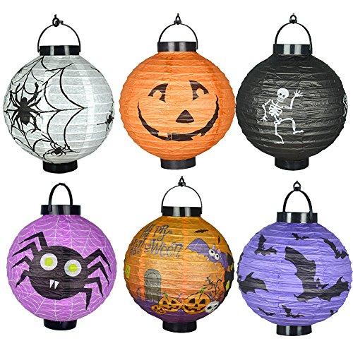 6Pcs Different Halloween Decorations LED Pumpkins Lantern Jack Skeletons Spiders Bats Haunted -
