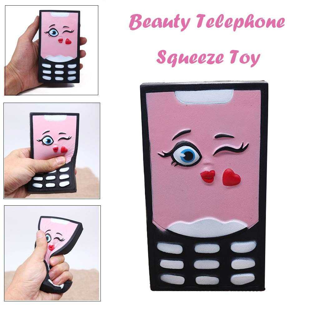 Anxiety-Reducer-Sensory-Play-Cute-Game,Simulation-Beauty-Telephone -Slow-Rising-Toy,Squeeze-Relieve-Squishies-Toys-for-Children (As shown)
