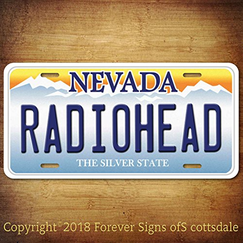 Radiohead Rock Band Nevada Aluminum Vanity License Plate Tag by Forever Signs Of Scottsdale