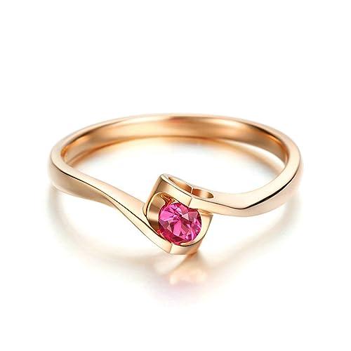 Epinki Anillo de Diamantes para Mujer Oro de 18 quilates Anillos (Au750), 0.17Ct Ronda Rubí Anillos de Compromiso Anillo Solitario Para Novia: Amazon.es: ...