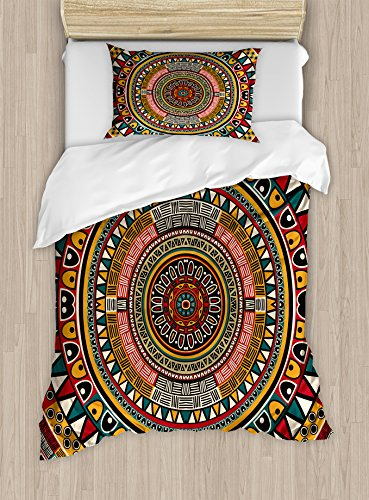 African Bed - Ambesonne Tribal Duvet Cover Set Twin Size, African Folkloric Tribe Round Pattern with Ethnic Colors Aztec Style Theme Artwork, Decorative 2 Piece Bedding Set with 1 Pillow Sham, Mustard Jade