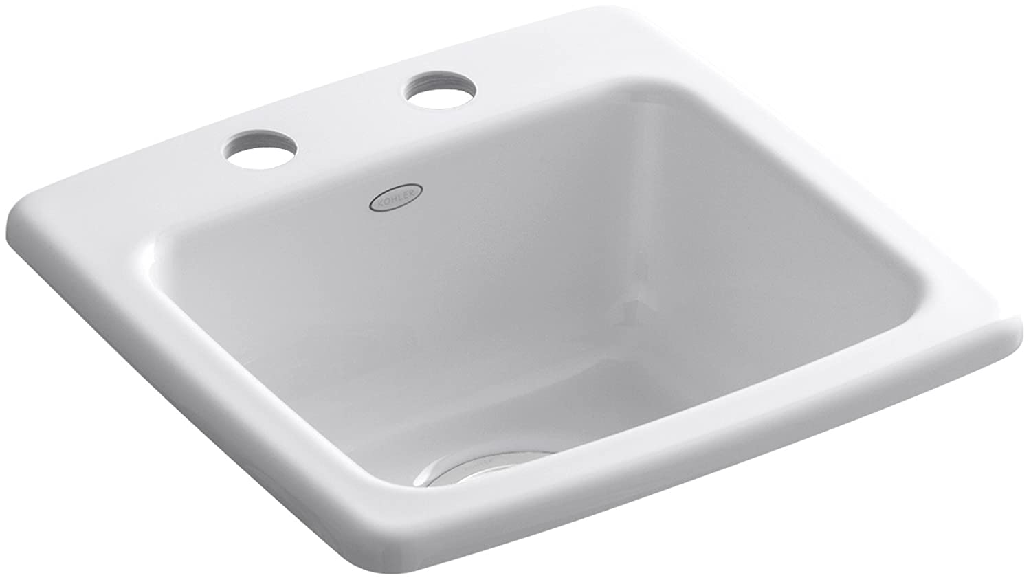 KOHLER K-6015-2-0 Gimlet Self-Rimming Entertainment Sink, White