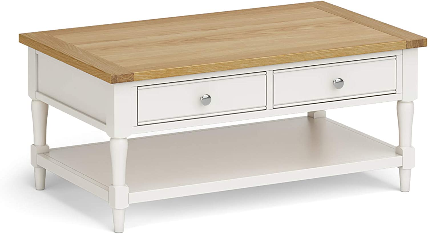 - RoselandFurniture Chichester Painted Coffee Table - Oak Top - Two