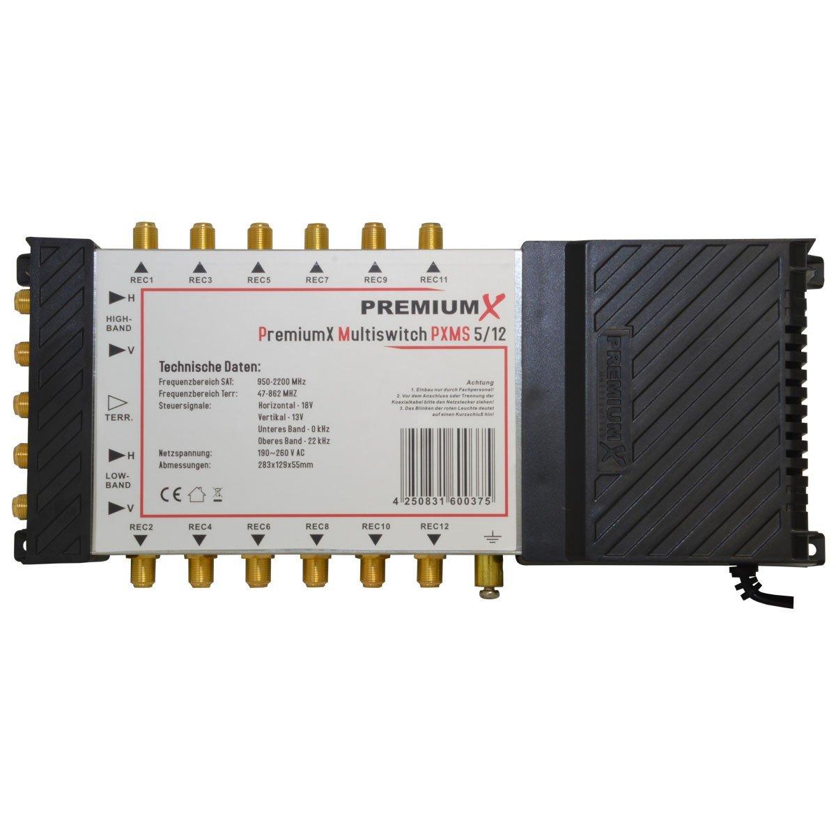 PremiumX pXMS-commutateur multiple 17 entr/ées//12 sorties avec bloc dalimentation en fullHD 1 x 12 hDTV et 3D pour 4 r/écepteurs satellites et sorties