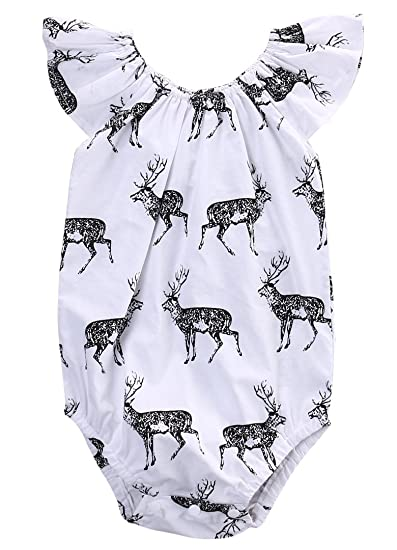 eefaadd79d3 Amazon.com  Newborn Princess Baby Girl Deer Romper Jumpsuit Bodysuit  Sunsuit Outfits Clothes  Clothing