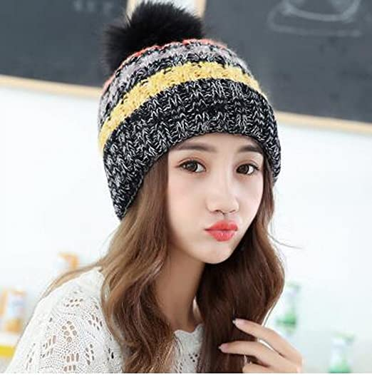 Amazon.com: Winter Hat Female Color Splicing Knitted Hat Cap Thick Wool Warm and Lovely Winter Hat,Black: Sports & Outdoors
