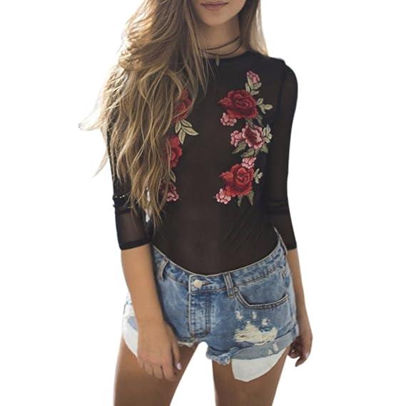 DRESS_start Mujer Manga Larga Camisas o Blusas Mujer de Vestir Fiesta Atractivo Floral Malla, (