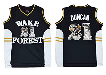 best website a0b9e 7afac WEENKS Men's Tim Duncan 21 Wake Forest Demon Deacons College ...