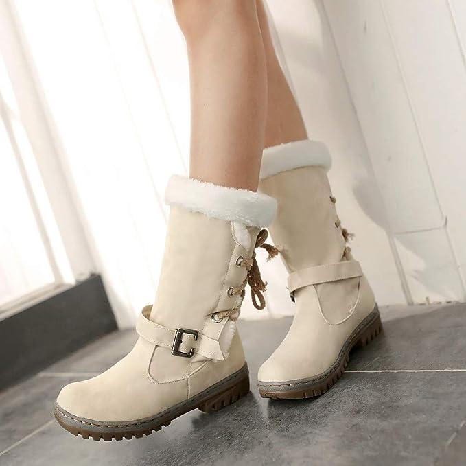 081fe2c0a057a Damen Schneestiefel SHOBDW Frauen Klassisch Stil Mode Warme Plüsch Schnee  Stiefel Trendigen Flat Heels Winterschuhe Warm Künstliche Pelzstiefel  Elegant ...