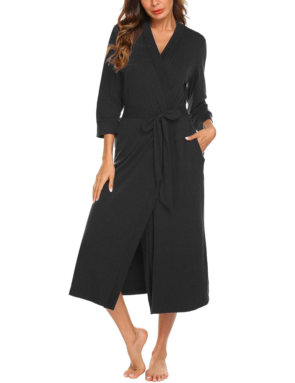 UNibelle Vestaglia e Kimono Lungo Donna Manica a 3//4 Scollo a V Accappatoio con 2 Tasche Nightdress S-XXL