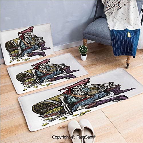 3 Piece Non Slip Flannel Door Mat Skeleton Pirate Holding Mug of Beer Treasure Chest Gold Freebooter Sailor Corsair Decorative Indoor Carpet for bath Kitchen(W15.7xL23.6 by W19.6xL31.5 by W31.4xL47.2)