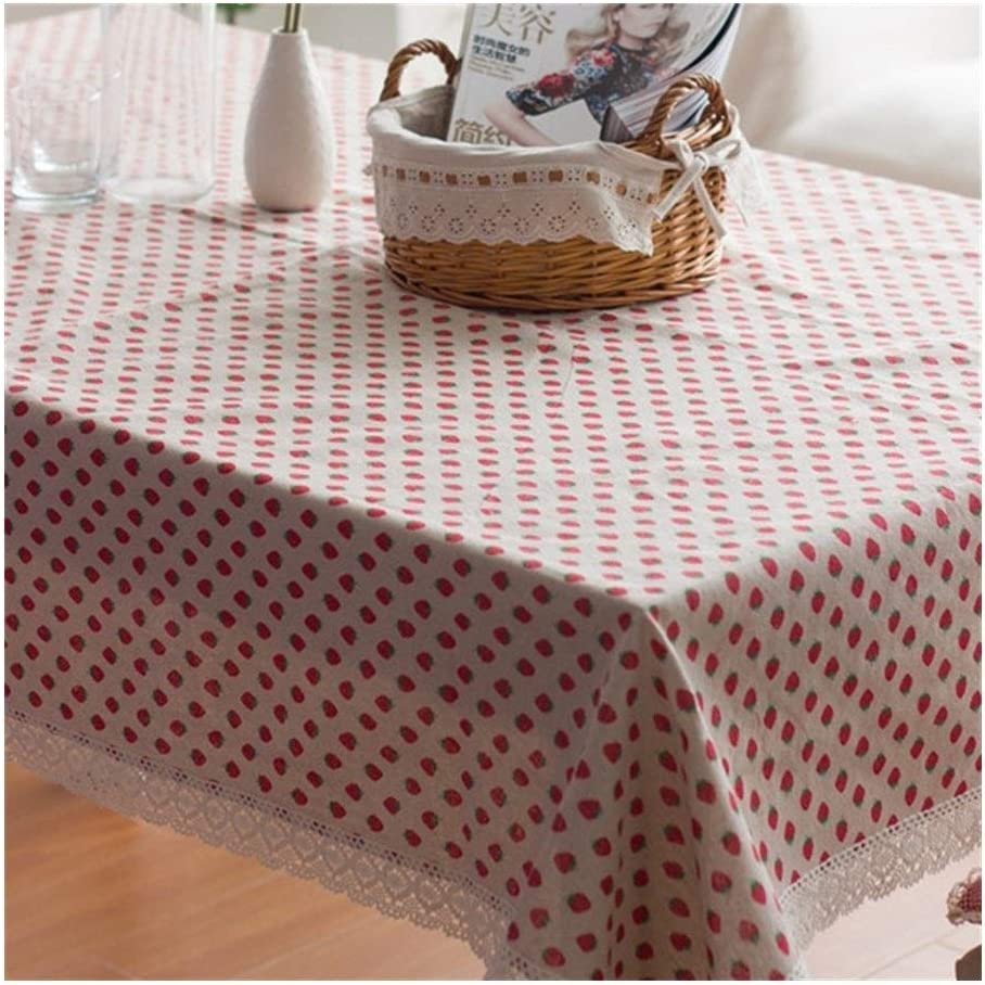 Size : 100 * 140 ZJP-dzswzb Clean Household Dustproof Washable Multi-purpose Cloth Rustic Style Strawberry Tablecloth