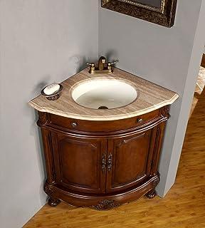 Silkroad Exclusive 32 inch Travertine Stone Top Bathroom Single Vanity  Corner Sink CabinetAmazon com  Silkroad Exclusive Modern Sink Vessel Bathroom Vanity  . Silkroad Exclusive Travertine Stone Top 29 Inch Bathroom Vanity. Home Design Ideas