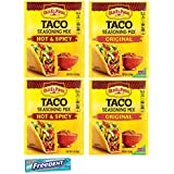 Old El Paso Taco Seasoning Mix Combo. Two Hot & Spicy and Two Original Mix, 1 Oz Pouches. Easy Shopping for Delicious, Low Calorie and Low Cholesterol Taco Cooking Mixes. Includes 5 pack Gum Sample.