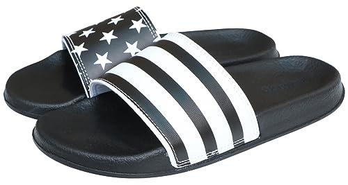 5e80aa03 ROWOO Men's Lightweight Flat Stripe and Star Slide Sandals (42 EU / 9 US,