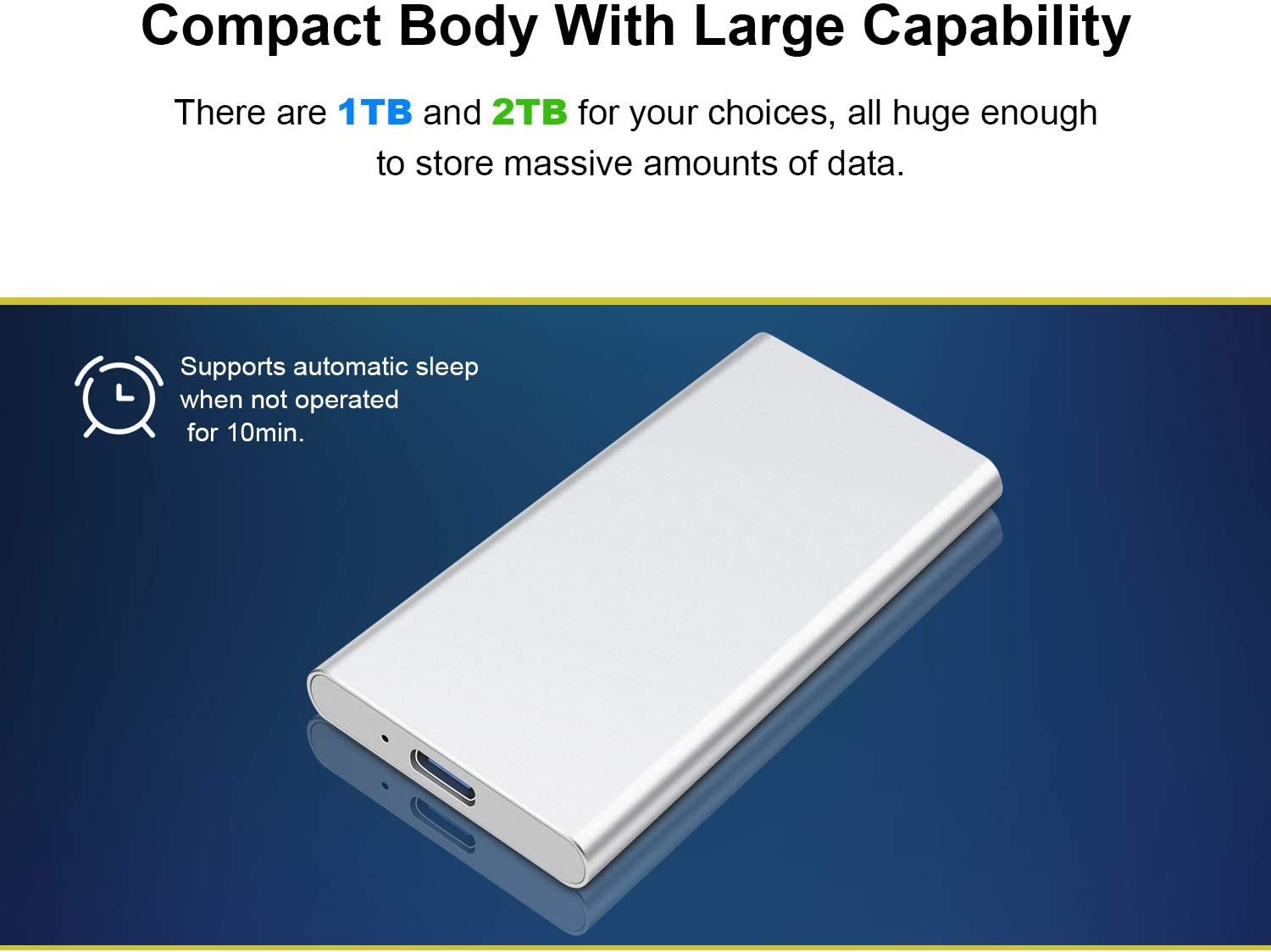 Portable Hard Drive Data Storage Portable HDD Compatible with PC External Hard Drive 1TB, Blue Laptop and Mac